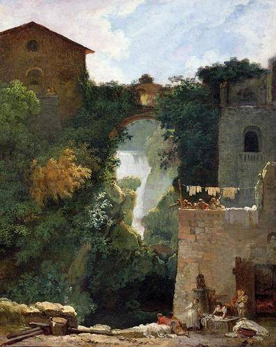 cuadros-de-paisajes - Cuadro -The Falls of Tivoli (oil on canvas).- - Fragonard, Jean Honoré