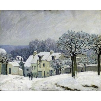 - Cuadro -The Place du Chenil at Marly-le-Roi, Snow, 1876- - Sisley, Alfred