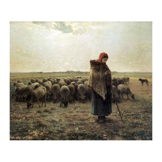 cuadros de paisajes - Cuadro -Bergère gardant ses moutons dite la Grande Bergère, 1862-1864-