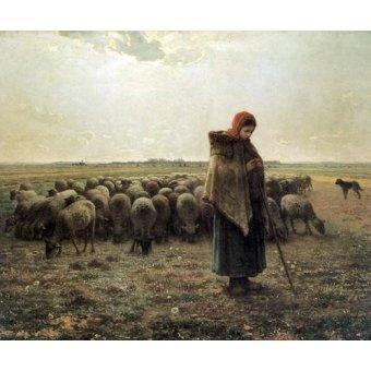 Cuadro -Bergère gardant ses moutons dite la Grande Bergère, 1862-1864-