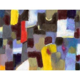 - Cuadro -Abstracto _ Pareja y urbe (I).- - Molsan, E.