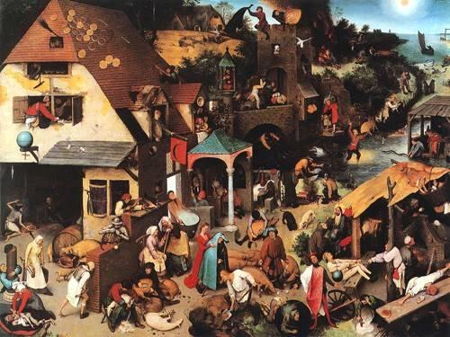 cuadros-de-retrato - Cuadro -The Netherlandish Proverbs- - Bruegel