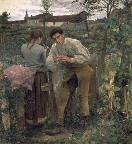 cuadros-de-retrato - Cuadro -Rural Love, 1882 (oil on canvas).- - Bastien Lepage, Jules