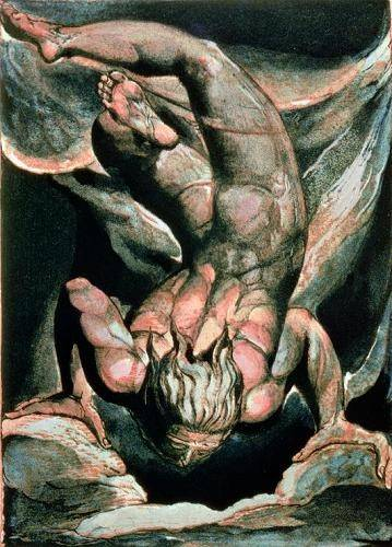 cuadros-de-retrato - Cuadro -The First Book of Urizen, Man floating upside down- - Blake, William