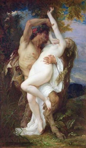 cuadros-de-retrato - Cuadro -Nymph Abducted by a Faun, 1860- - Cabanel, Alexander