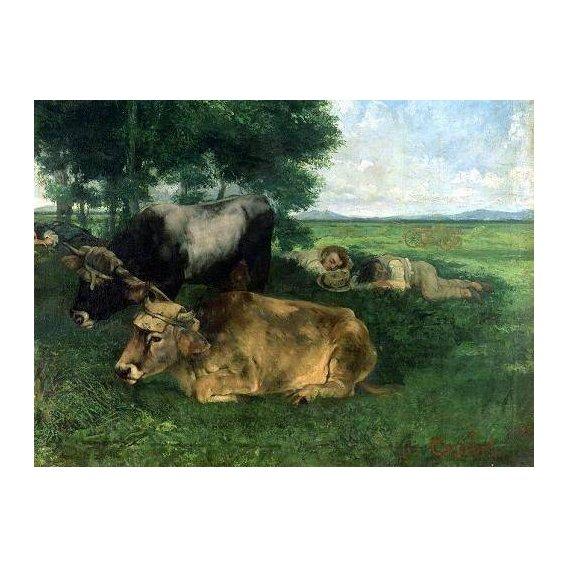cuadros de fauna - Cuadro -La Siesta Pendant la saison des foins, 1867-