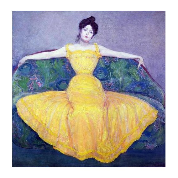 cuadros de retrato - Cuadro -Lady in a Yellow Dress, 1899-