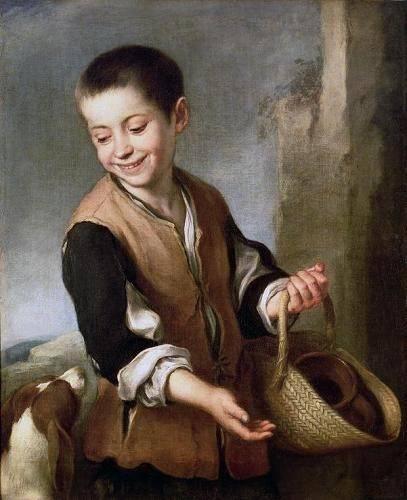 cuadros-de-retrato - Cuadro -Muchacho con un perro, c.1650- - Murillo, Bartolome Esteban