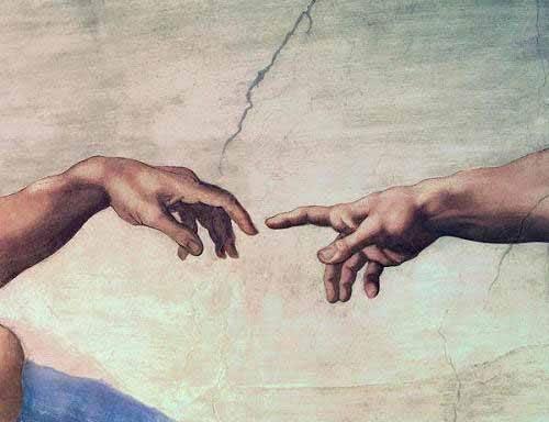 cuadros-religiosos - Cuadro -Manos de Dios y Adán, detalle de la Creación- - Buonarroti, Miguel Angel