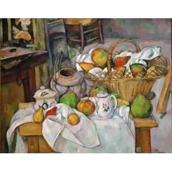 - Cuadro -Bodegón con cesto de fruta- - Cezanne, Paul