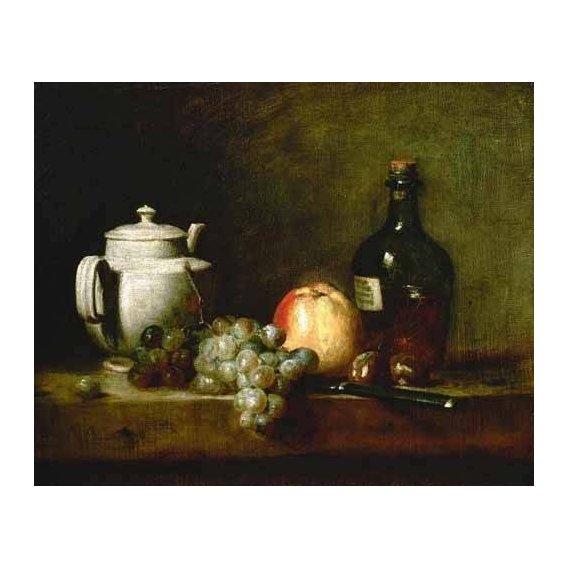 cuadros de bodegones - Cuadro -Tetera blanca, uvas, castañas, cuchillo y botellas-