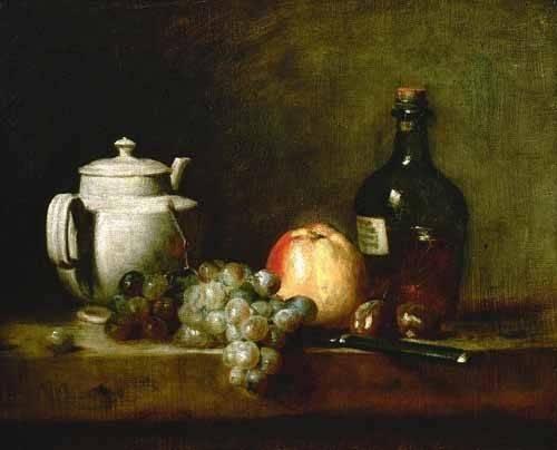 cuadros-de-bodegones - Cuadro -Tetera blanca, uvas, castañas, cuchillo y botellas- - Chardin, Jean Bapt. Simeon