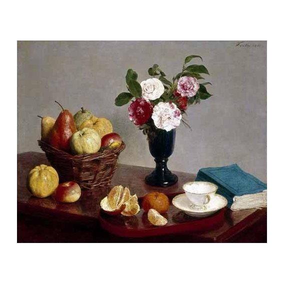 cuadros de bodegones - Cuadro -Bodegón con libro y taza de té-