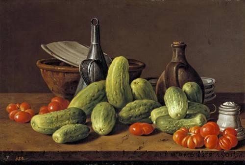 cuadros-de-bodegones - Cuadro -Pepinos y tomates- - Melendez, Luis