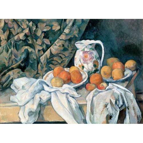 cuadros de bodegones - Cuadro -Bodegón con cortina y jarra de flores-