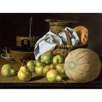 - Cuadro -Bodegón con melón y peras- - Melendez, Luis