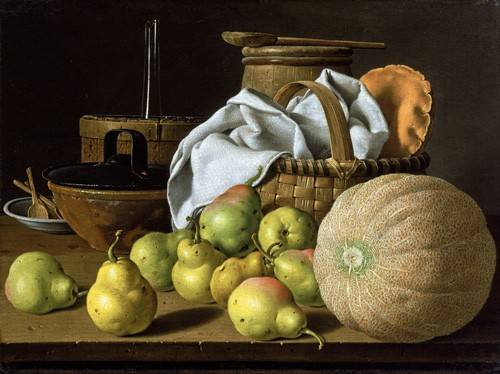 cuadros-de-bodegones - Cuadro -Bodegón con melón y peras- - Melendez, Luis