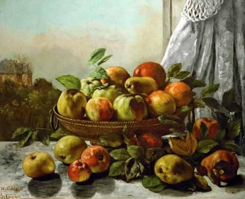 cuadros-de-bodegones - Cuadro -Bodegon con frutas- - Courbet, Gustave