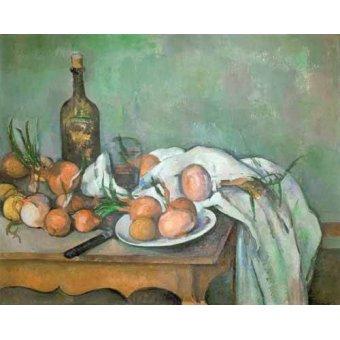 cuadros de bodegones - Cuadro -Bodegon con cebollas- - Cezanne, Paul