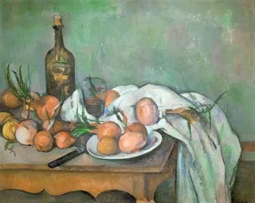 cuadros-de-bodegones - Cuadro -Bodegon con cebollas- - Cezanne, Paul