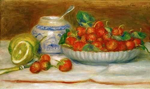 cuadros-de-bodegones - Cuadro -Bodegon con fresas- - Renoir, Pierre Auguste