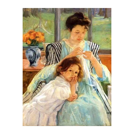 cuadros de retrato - Cuadro -1900 vers Young mother Sewing-