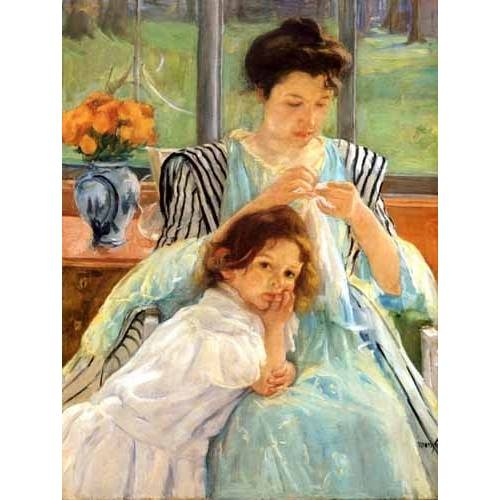cuadros de retrato - Cuadro -1900 vers Young mother Sewing-