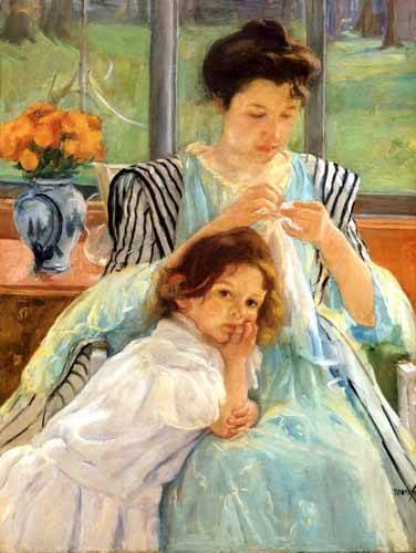 cuadros-de-retrato - Cuadro -1900 vers Young mother Sewing- - Cassatt, Marie