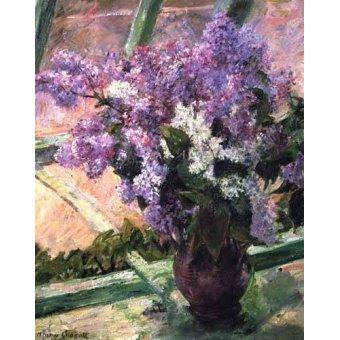 cuadros de flores - Cuadro -Lilacs in a Window, 1880- - Cassatt, Marie