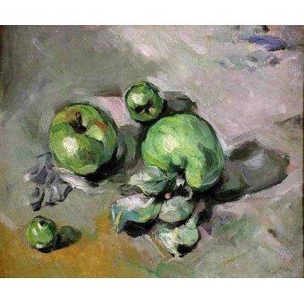 cuadros de bodegones - Cuadro -Manzanas verdes, (1872-73)- - Cezanne, Paul