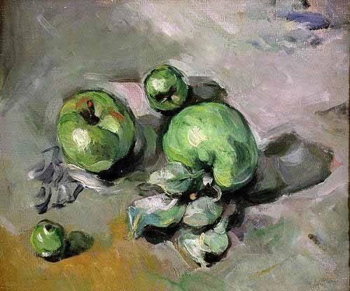 cuadros-de-bodegones - Cuadro -Manzanas verdes, (1872-73)- - Cezanne, Paul