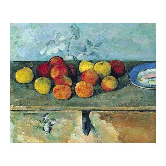 cuadros de bodegones - Cuadro -Bodegón con manzanas y galletas(1880-82)-