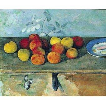 cuadros de bodegones - Cuadro -Bodegón con manzanas y galletas(1880-82)- - Cezanne, Paul