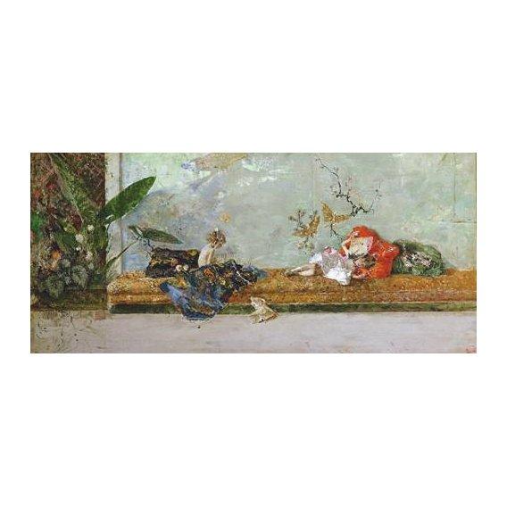 cuadros de retrato - Cuadro -Los hijos del pintor en el salón japones-