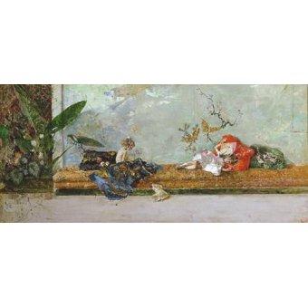 cuadros de retrato - Cuadro -Los hijos del pintor en el salón japones- - Fortuny y Marsal, Mariano