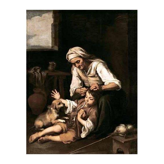cuadros de retrato - Cuadro -Vieja espulgando a un niño-