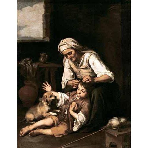 Cuadro -Vieja espulgando a un niño-