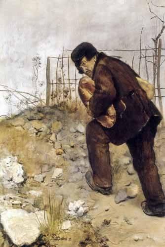cuadros-de-retrato - Cuadro -L'homme aux deux pains- - Raffaelli, Jean Francois