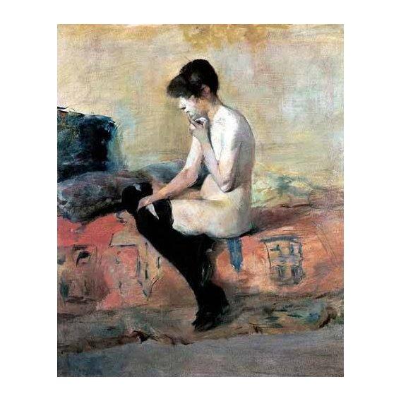 cuadros de retrato - Cuadro -Mujer desnuda en un divan-