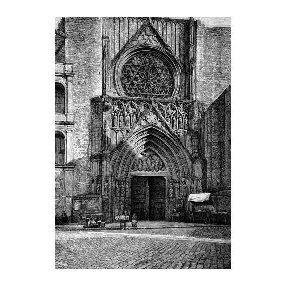 cuadros de mapas, grabados y acuarelas - Cuadro -Catedral de Valencia, vista de la puerta de los Apóstoles-