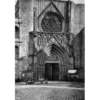 cuadros de mapas, grabados y acuarelas - Cuadro -Catedral de Valencia, vista de la puerta de los Apóstoles- - _Anónimo Español
