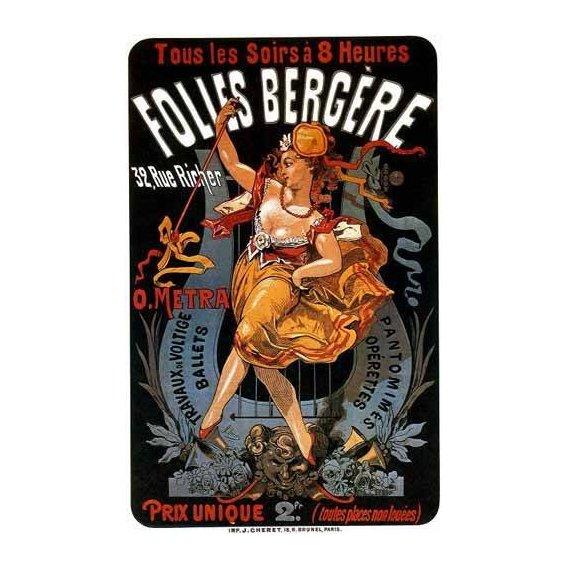 cuadros de mapas, grabados y acuarelas - Cuadro -Cartel: Espectaculos en Folies Bergere, 32 rue Richer-
