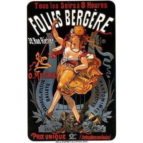 Cuadro -Cartel: Espectaculos en Folies Bergere, 32 rue Richer-