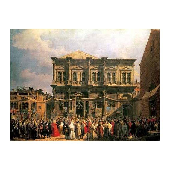 cuadros de paisajes - Cuadro -Visita del Dux a Iglesia San Rocco-