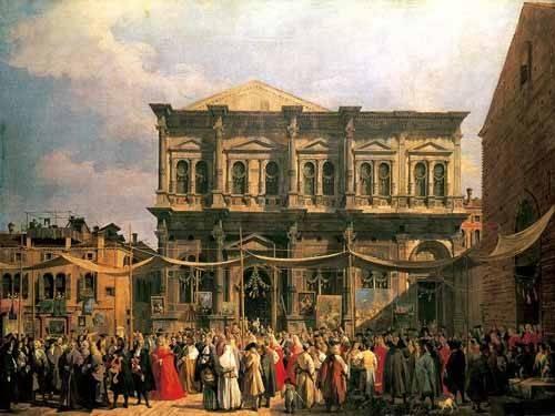 cuadros-de-paisajes - Cuadro -Visita del Dux a Iglesia San Rocco- - Canaletto, Giovanni A. Canal