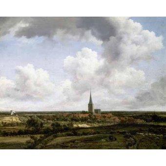 - Cuadro -Paisaje llano con aldea e iglesia- - Ruisdael, Jacob van