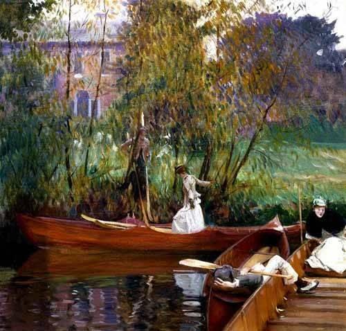 cuadros-de-paisajes - Cuadro -Fiesta en el rio- - Sargent, John Singer