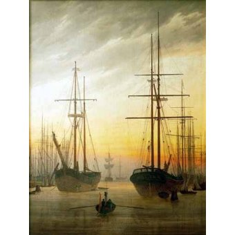 cuadros de marinas - Cuadro -Ships in The Harbour- - Friedrich, Caspar David