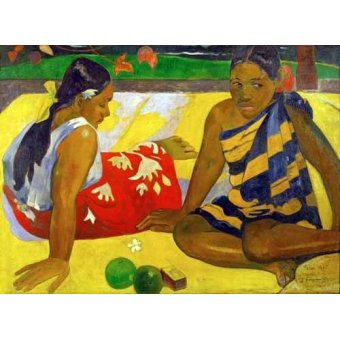 - Cuadro -Two women from Tahiti (Oil on canvas) (1892)- - Gauguin, Paul