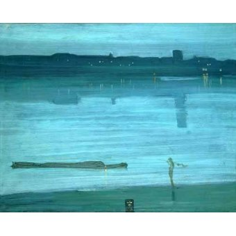 cuadros de marinas - Cuadro -Nocturne, Blue and Silver_Chelsea, 1871- - Whistler, James Abbot McNeill